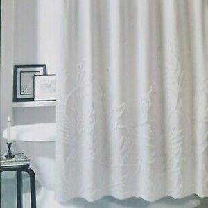 DKNY Fabric Chenille Floral White Shower Curtain